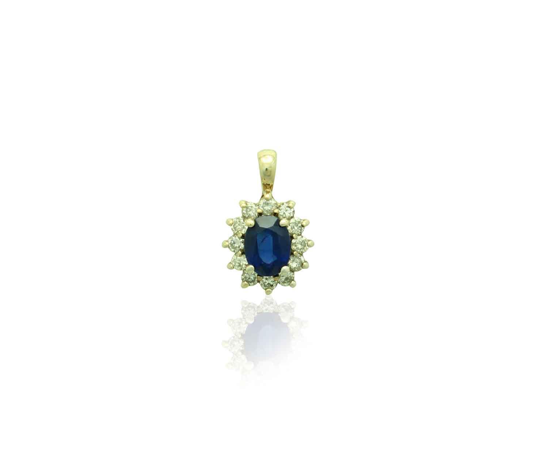 14k gold sapphire diamond pendant lav pd 1019 1 aloadofball Image collections